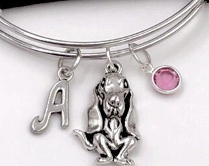 Basset Hound Dog Bracelet, Animal Bangles, Puppy Charm, Gift for Women and Girls, Personalized Birthstone Initial Bracelet, Veternarian Gift