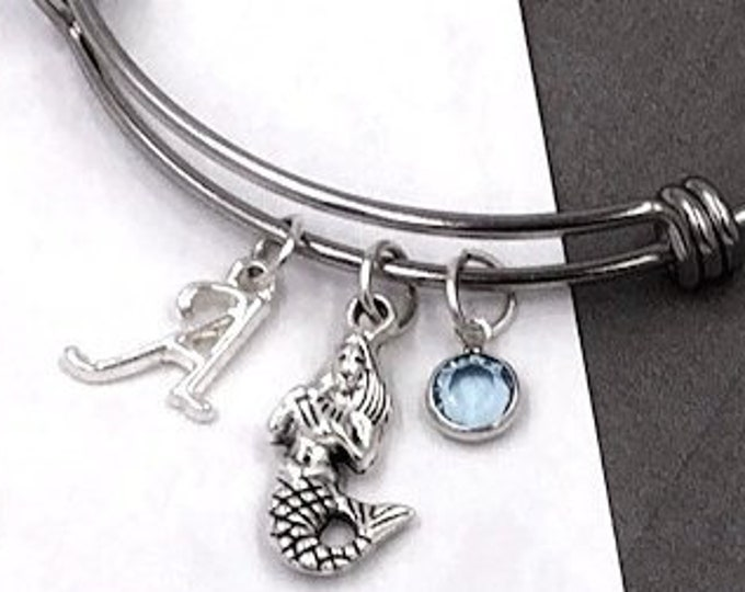 Mermaid Bracelet Gifts, Personalized Silver Mermaid Jewelry for Women and Girls, With Sterling Silver Birthstone and Letter Charm