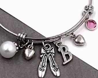 Ballerina bracelet, ballerina bangle bracelet, ballerina jewelry, ballerina gift, ballerina charm bracelet, personalized birthstone bracelet