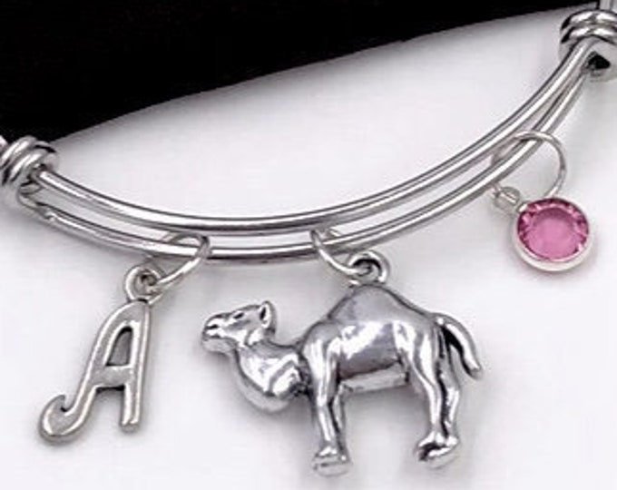 Camel Charm Bracelets, Silver Charm Bangles, Desert Animals, Camel Hump, Gifts for Women and Girls, Personalized Initial Birthstone Jewelry