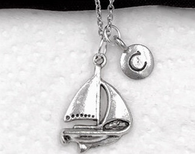 Sailing Gifts, Sailboat Gifts, Silver Sailboat Necklace Jewelry for Women and Girls, Personalized Intial Charm Necklaces