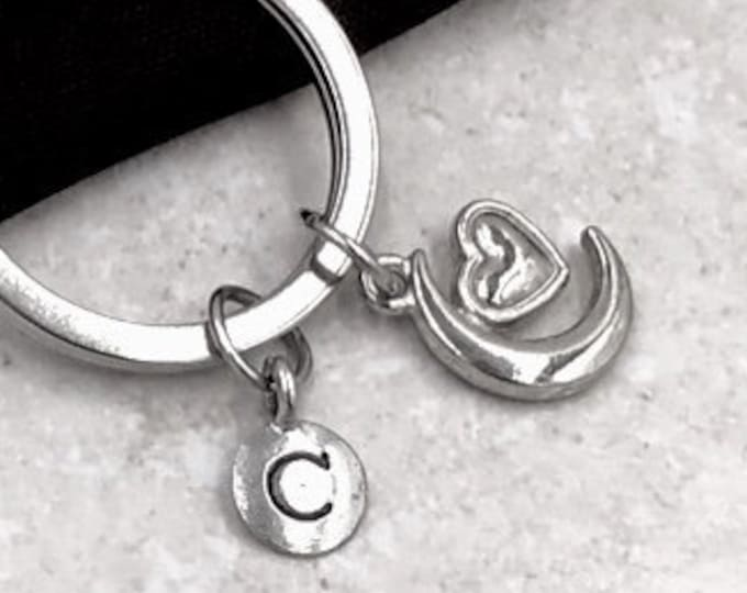 Personalized Silver Initial Keychain Gifts, Heart Moon Keychain Accessory, Sterling Silver Birthstone Add On's Available