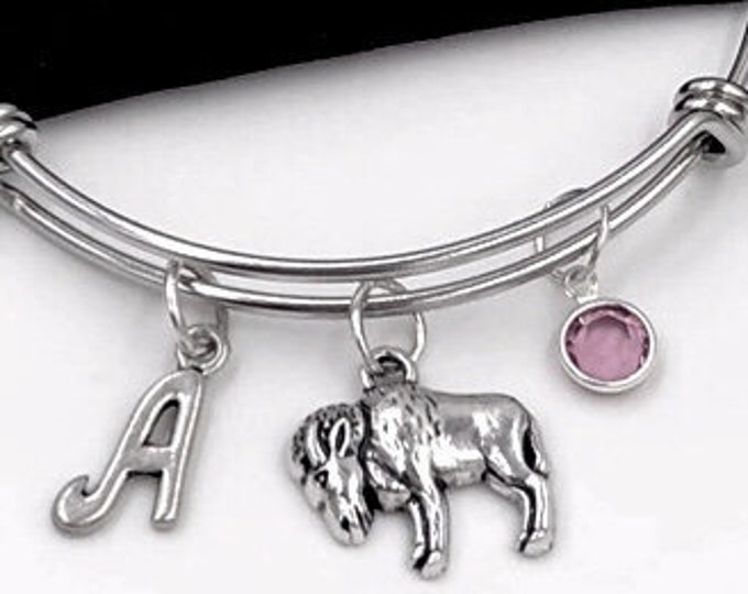 Animal Jewelry, Pet Goat Bangle Charm Bracelets, Gifts for Women and Girls, Personalized Initial Birthstone, Farm Life, Gift for Vet Doctor
