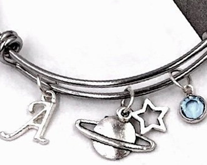Saturn Planet Bracelet, Personalized Silver Astronomy Jewelry Gifts For Women and Girls, Sterling Silver Birthstone and Initial Included