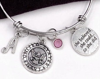 Inspirational Military Bracelet Gift for Women and Girls, Choice of Military Branch, With Sterling Silver Birthstone and Letter Style Charm