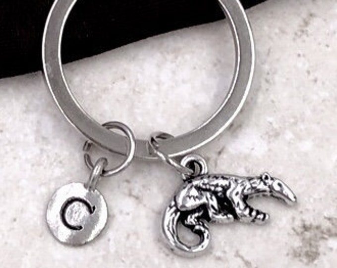 Personalized Silver Initial Anteater Keychain Gifts, Anteater Keychain Accessory, Sterling Silver Birthstone Add On's Available