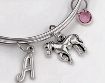 Personalized Horse Gifts, Silver Horse Bangle Bracelet for Women and Girls, Sterling Silver Birthstone and Initial Included