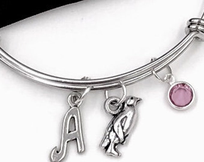 Personalized Penguin Gifts, Silver Penguin Bangle Bracelet for Women and Girls, Sterling Silver Birthstone and Initial Included