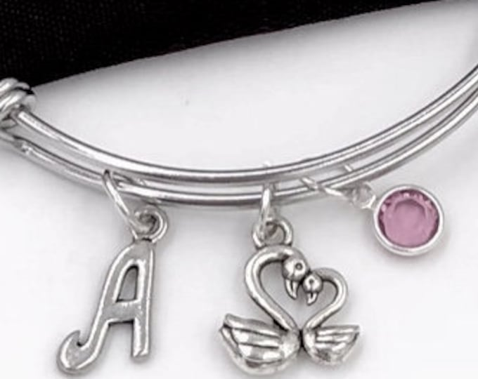 Swan Charm Bracelet, Swan Bird Bangle, Veternary Gift, Mother and Child Bracelet, Gifts for Women, Personalized Initial Birthstone Jewelry