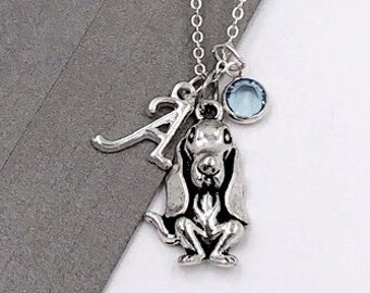 Personalized Dog Gifts, Silver Basset Hound Necklace Jewelry for Women and Girls, Sterling Silver Birthstone and Initial Included