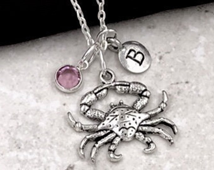 Personalized Crab Gift, Silver Crab Necklace, Lobster Necklace, Jewelry for Women and Girls, Sterling Silver Birthstone and Initial Included