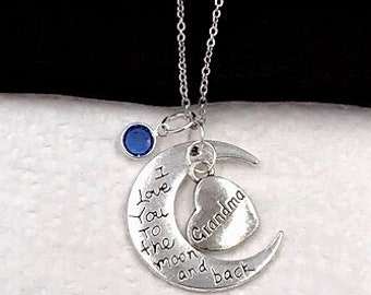 Grandma Silver Moon Charm Necklaces, Grandma Gift Ideas, Popular Grandma Jewelry, Trendy Heart Necklace, Personalized Birthstone Necklaces