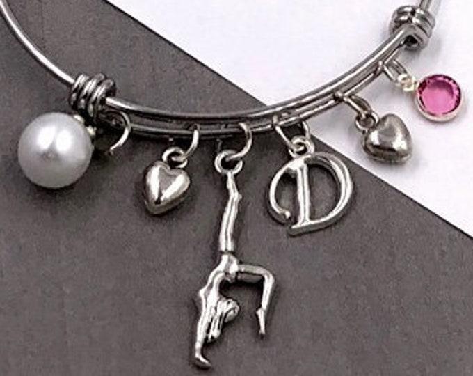 Gymnastics Charm Bracelet, Silver Gymnast Bangle Charm Bracelet, Girls Personalized Gymnastics Charm Bracelet, Birthstone Charm Bracelet
