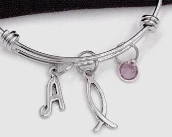 Christian bangle bracelet, Christian bangle charm bracelet, silver bangle bracelet, birthstone bangle bracelet, Fish bracelet, Ichthys Charm