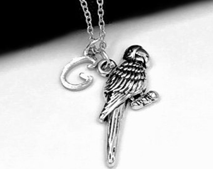 Parrot Necklace, Silver Parakeet Charm Necklace for Women and Girls, Personalized Initial Jewelry, Parrot Gift Jewelry Ideas