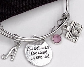 Personalized Gifts for Photographer, Silver Camera Jewelry Bracelet With Sterling Silver Birthstone and Letter Charm for Women and Girls