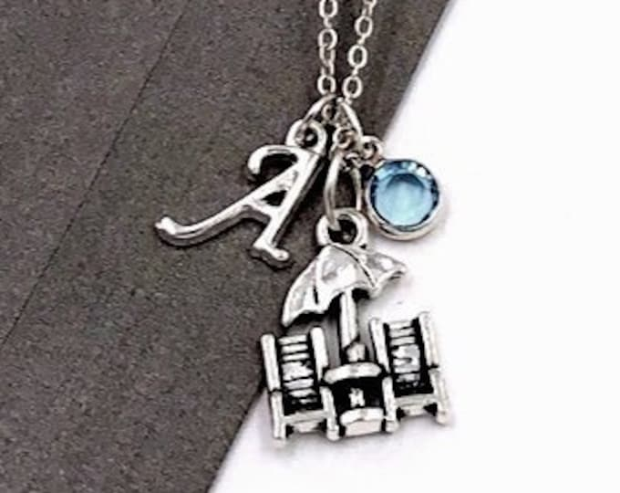 Personalized Beach Gifts, Silver Beach Chair Necklace Jewelry for Women and Girls, Sterling Silver Birthstone and Initial Included