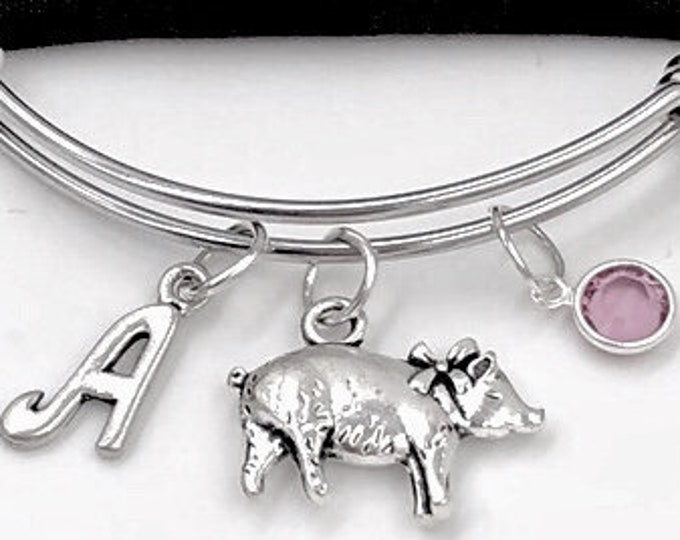 Pig Charm Bracelet, Little Pig Bangle, Farm Animal, Veterinary Gift, Gifts for Women and Girls, Personalized Initial Birthstone Jewelry