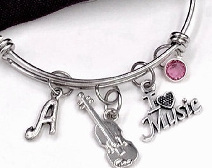 "Violin Music Bracelet, ""I Love Music"" Charm, Music Jewelry, Gift for Women and Girls, Coach Gifts, Personalized Initial Birthstone Bracelet"
