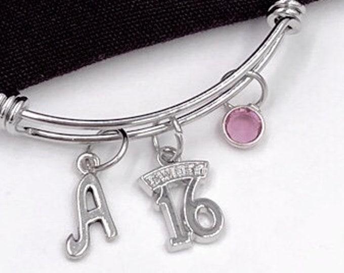 16th Birthday Bangle Bracelet, Sweet 16 Jewelry, Gifts For Girls, Birthday Bracelet, Birthday Gift, Personalized Initial Birthstone Bracelet