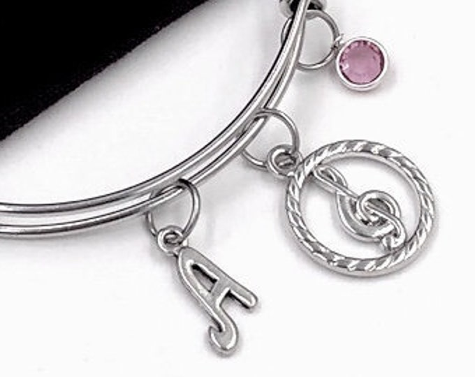 Music Gifts, Personalized Silver Treble Clef Jewelry Bracelet for Women and Girls, Includes a Sterling Silver Birthstone and Letter Charm