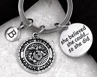 Inspirational Silver Military Keychain Jewelry Gifts for Women and Girls, Includes Your Choice of Military Branch and Letter Style Charm