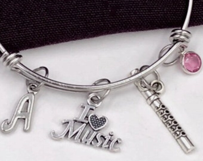 I Love Music Flute Bracelet, Music Jewelry, Gifts for Women and Girls, Music Coach Gifts, Personalized Initial Birthstone Bangle Bracelets