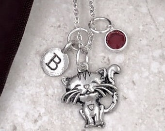 Personalized Cat Gift, Silver Kitten Necklace, Jewelry for Women and Girls, Sterling Silver Birthstone and Initial Included