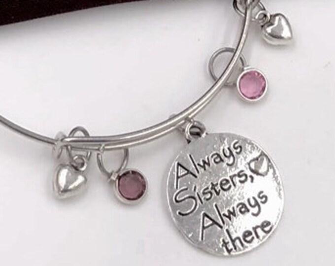 Sister Bracelet, Sister Silver Message Charm Bracelet, Sister friendship Jewelry gift, Womens and Girls Personalized Birthstone Bracelet