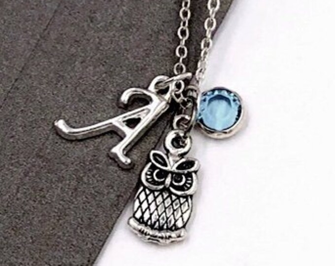 Personalized Owl Gifts, Silver Owl Necklace Jewelry for Women and Girls, Sterling Silver Birthstone and Initial Included