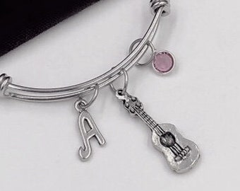 Guitar Bracelet, Music Jewelry, Acoustic Guitar Charm, Gift for Women, Music Student and Coach Gift, Personalized Initial Birthstone Bangle