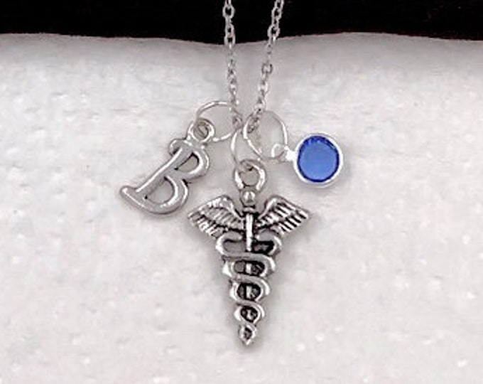 Personalized Nurses Gifts, Silver Caduceus Medical Symbol Jewelry for Women and Girls, Sterling Silver Birthstone and Initial Included