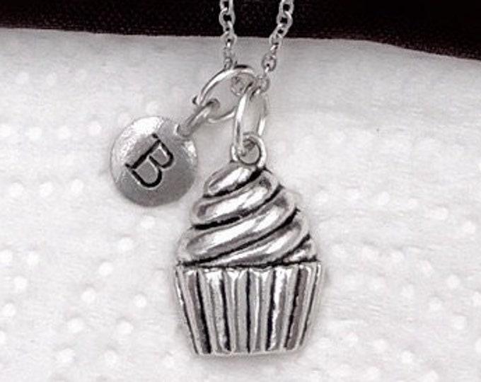 Cupcake Gifts, Silver Cupcake Necklace, Bakery Necklace, Jewelry for Women and Girls, Personalized Intial Charm Necklaces
