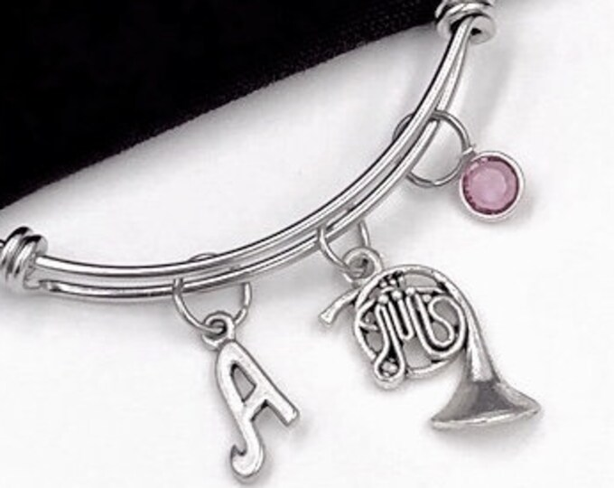 French Horn Bracelet, Music Jewelry, Gift for Women and Girls, Music Student and Coach Gift, Personalized Initial Birthstone Bangle Bracelet