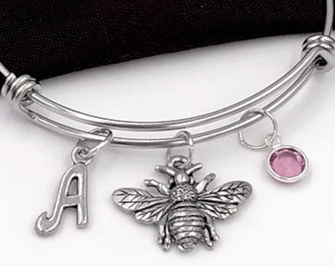 Bumblebee Bracelet, Honey Bee Jewelry, Gifts for Women and Girls, Personalized Birthstone Initial Charm Bracelet, Flying Insects, Flowers