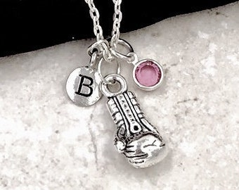 Personalized Boxing Gifts, Silver Boxing Glove Necklace Jewelry for Women and Girls, Sterling Silver Birthstone and Initial Included