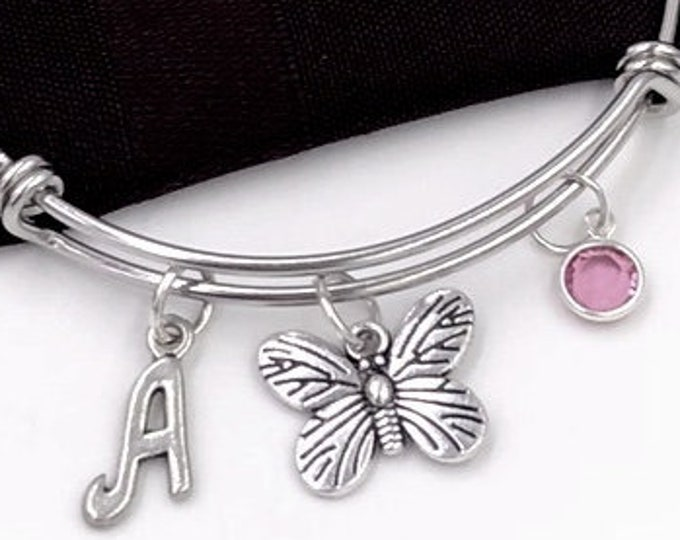 Personalized Silver Butterfly Bracelets, Gifts for Women and Girls, Initial Birthstone Jewelry, Flower Garden Bangles, Outdoor Nature Charms