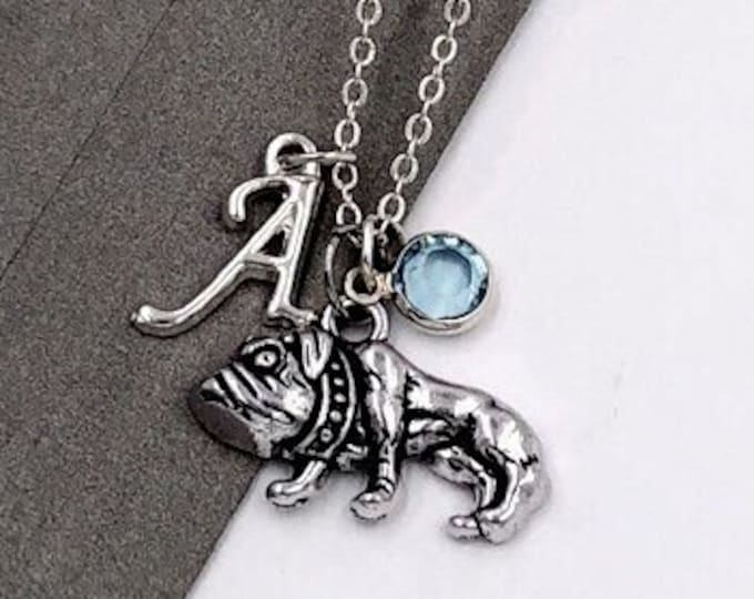 Personalized Pug Dog Gifts, Silver Pug Necklace Jewelry for Women and Girls, Sterling Silver Birthstone and Initial Included