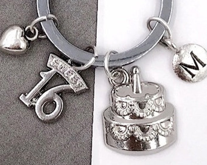 16 Year Old Keychain Gifts, Personalized Sweet 16 Silver Birthday Cake Jewelry Keyring, Sterling Silver Birthstone Add On Available