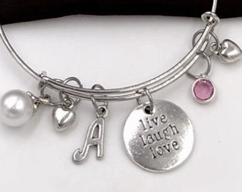 Silver Live Laugh Love Charm Bracelet, Vacation Bangle Jewelry Gift, Bridesmaid Birthstone Bracelet Gifts, Women's Personalized Bracelet
