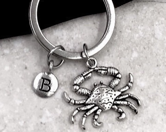 Crab Keychain, Animal Jewelry, Silver Keyring, Bag and Purse Accessory, Ocean Sea Animal Charm, Lobster Keyring, Personalized Unisex Keyring