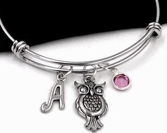 Owl Bracelet, Wise Owl Jewelry, Gifts for Women and Girls, Personalized Initial Birthstone Bangle Charm Bracelet, School Graduation, Animals