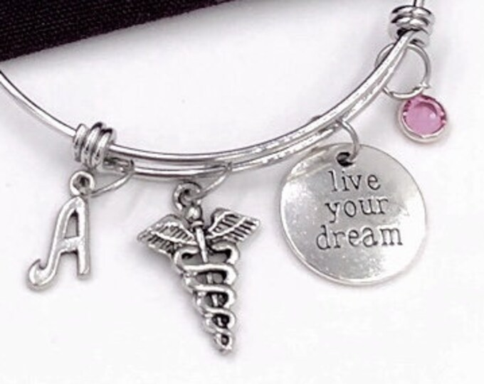 "Caduceus Medical Symbol Bangle, ""Live Your Dream"" Charm Bangle, Caduceus Jewelry, Personalized Bracelet, Silver Birthstone Bracelet"