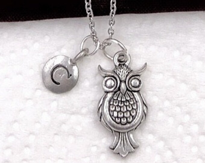 Animal Owl Gifts, Silver Owl Necklace, Animal Necklace, Jewelry for Women and Girls, Personalized Intial Charm Necklaces