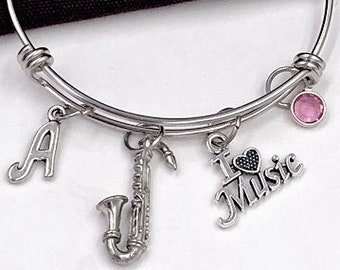 I Love Music Saxaphone Bracelet, Music Jewelry, Gift for Women and Girls, Music Coach Gift, Personalized Initial Birthstone Bangle Bracelets