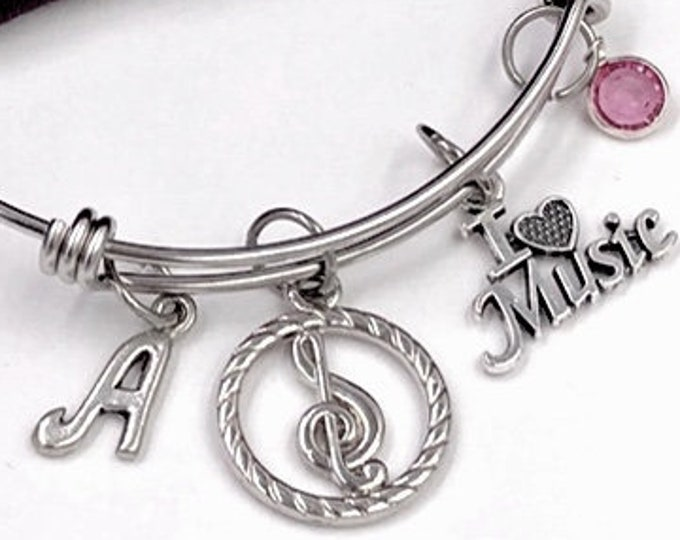 Treble Clef I Love Music Bangle, Music Jewelry, Gifts for Women and Girls, Music Coach Gift, Personalized Initial Birthstone Bangle Bracelet
