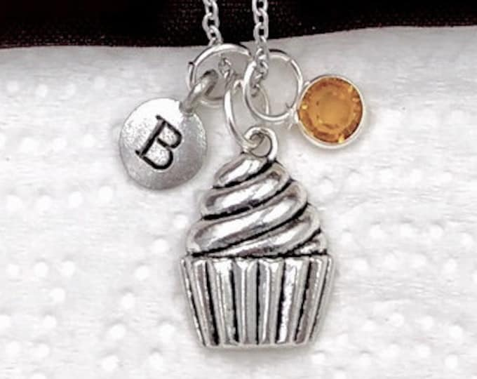 Personalized Cupcake Gifts, Silver Cupcake Necklace Jewelry for Women and Girls, Sterling Silver Birthstone and Initial Included