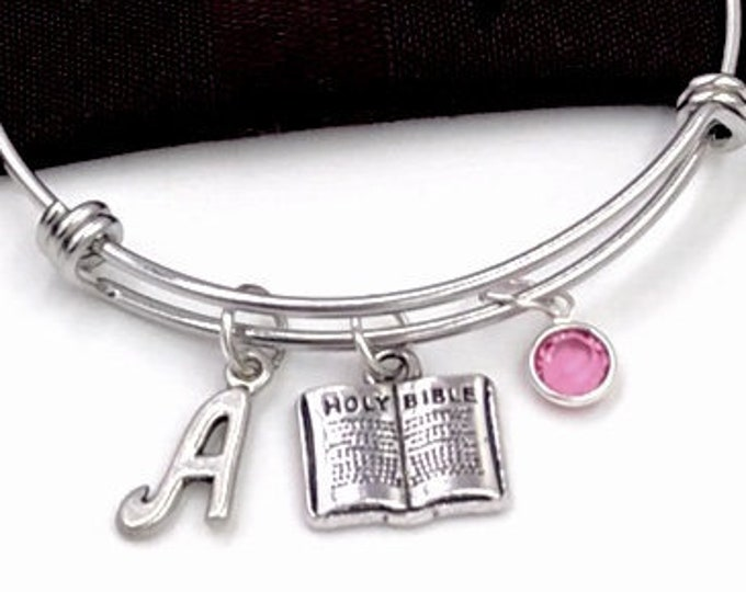 Bible Bracelet, Religious Gift for Women and Girls, First Communion. Personalized Baptism Jewelry, Christian Faith Bangle, Inspiration hope