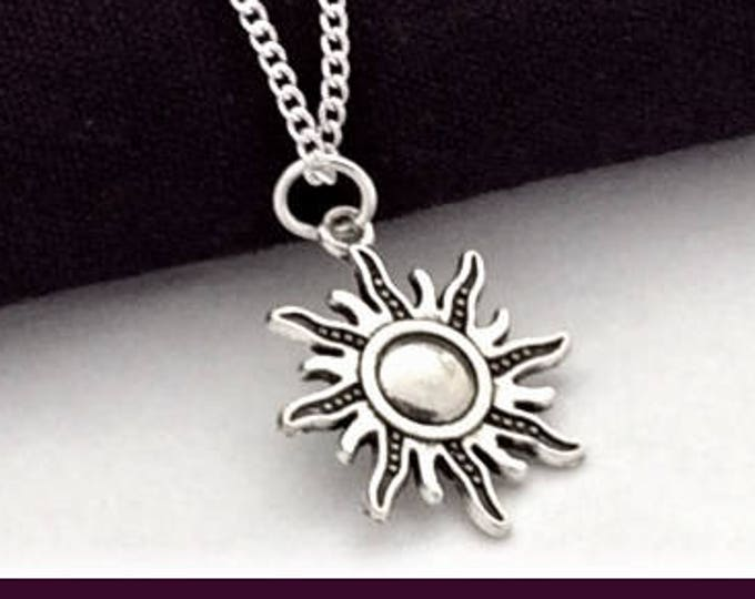 Sun necklace, Charm necklace, sunshine necklace, silver necklace, beach jewelry, girls necklace, long necklace, beach gifts, sun  gift