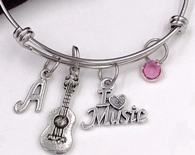 Personalized Music Gifts, Silver Acoustic Guitar Jewelry Bracelet for Women and Girls, With A Sterling Silver Birthstone and  Letter Charm